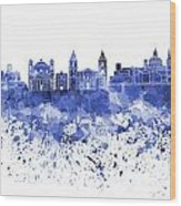 Valletta Skyline In Blue Watercolor On White Background Wood Print