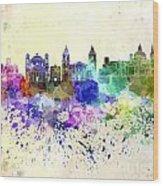 Valletta Skyline In Watercolor Background Wood Print