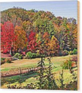 Valley Farm In The Fall Wood Print