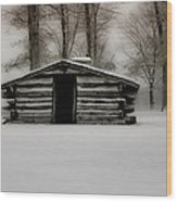 Valley Forge Cabin In Winter Wood Print