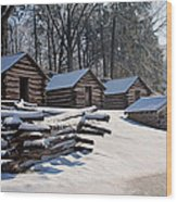 Valley Forge Cabins After A Snow Wood Print