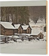 Valley Forge Cabins In Snow 2 Wood Print