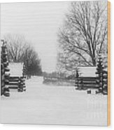 Valley Forge Cabins In Snow Wood Print
