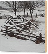 Valley Forge Snow Wood Print