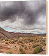 Valley Of Fire With Dramatic Sky Wood Print
