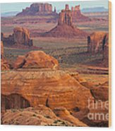 Valley Of Monuments At Dawn Wood Print