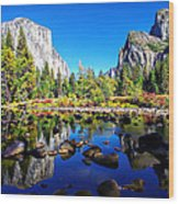 Valley View Reflection Yosemite National Park Wood Print by Scott McGuire