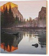 Valley View Winter Sunset Yosemite National Park Wood Print