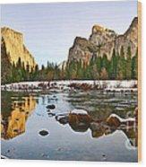 Vally View Panorama - Yosemite Valley. Wood Print