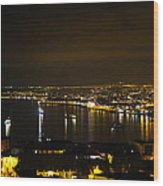 Valparaiso Harbor At Night Wood Print
