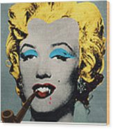Vampire Marilyn With Surreal Pipe Wood Print
