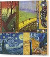 Van Gogh Collage Wood Print