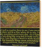 Van Gogh Motivational Quotes - Wheatfield With Crows Wood Print