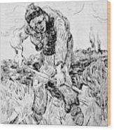 Peasant Hoeing Wood Print