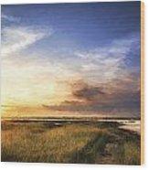 Van Gogh Style Digital Painting Beautful Summer Evening Landscape Over Wetlands And Harbour Wood Print