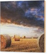 Van Gogh Style Digital Painting Beautiful Golden Hour Hay Bales Sunset Landscape Wood Print