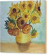 van Gogh Sunflowers in watercolor Wood Print