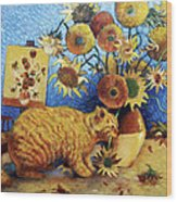 Van Gogh's Bad Cat Wood Print