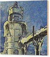 The Frozen Lighthouse Lake Michigan Wood Print
