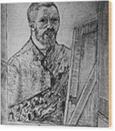 Van Goghs Self Portrait Painting Placed In His Room In Arles France Wood Print