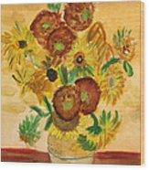 van Gogh's Sunflowers in Watercolor Wood Print