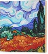 Van Goghs Wheat Field With Cypress Wood Print