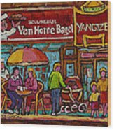 Van Horne Bagel With Yangtze Restaurant Montreal Street Scene Wood Print by Carole Spandau
