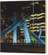 Vancouver - 2010 Olympic Cauldron Lit At Night Wood Print