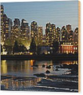 Vancouver Bc City Skyline And Deadman's Island Wood Print