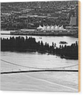 Vancouver Bc City Skyline And Lions Gate Bridge Wood Print