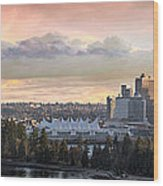 Vancouver Bc City Skyline And Stanley Park Wood Print