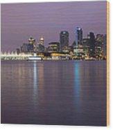 Vancouver Bc City Skyline At Dawn Wood Print