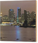 Vancouver Bc City Skyline At Night Wood Print