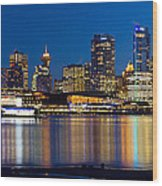 Vancouver Bc City Skyline Reflection Wood Print