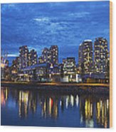 Vancouver Bc City Skyline With Bc Place At Blue Hour Wood Print