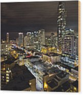 Vancouver Bc Robson Street Cityscape Wood Print