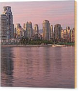 Vancouver Bc Skyline Along False Creek At Dusk Wood Print