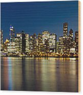 Vancouver Bc Skyline From Stanley Park During Blue Hour Wood Print