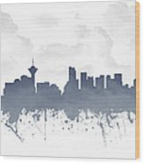 Vancouver British Columbia Skyline - Blue 03 Wood Print