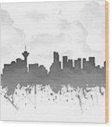 Vancouver British Columbia Skyline - Gray 03 Wood Print