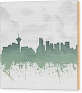 Vancouver British Columbia Skyline - Teal 03 Wood Print