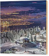 Vancouver City Panorama From Grouse Mountain  Wood Print