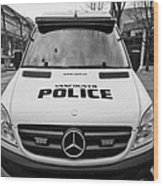 Vancouver Police Mercedes Response Van Vehicle Bc Canada Wood Print by Joe Fox