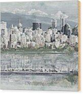Vancouver Skyline Wood Print by Maryam Mughal