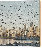 Vancouver Skyline With Crows Wood Print