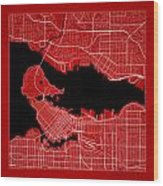Vancouver Street Map - Vancouver Canada Road Map Art On Color Wood Print