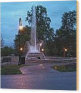 Vander Veer Fountain At Sunset Wood Print