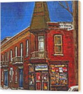 Vanishing Montreal Landmark Depanneur Ste. Emilie And Bourget Montreal Painting By Carole Spandau  Wood Print