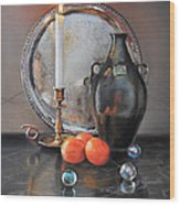 Vanitas Still Life By Candlelight With Clementines 1 Wood Print