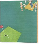 Vanity Fair Cover Featuring Men Playing Golf Wood Print